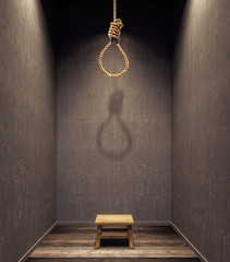 Suicidal rope hanging with small stool in dark room 3D Rendering