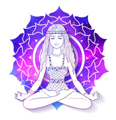 Woman meditating on Sahasrara chakra background