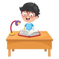 Vector Illustration Of Kid Writing