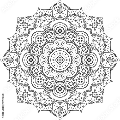 Adult Mandala Coloring Page Relax And Art Stock Image And