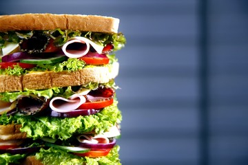 Tall meat and vegetable sandwich
