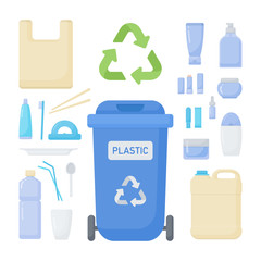 Plastic waste sorting vector flat icon set
