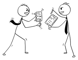 Cartoon stick man drawing conceptual illustration of two businessmen fighting or arguing.