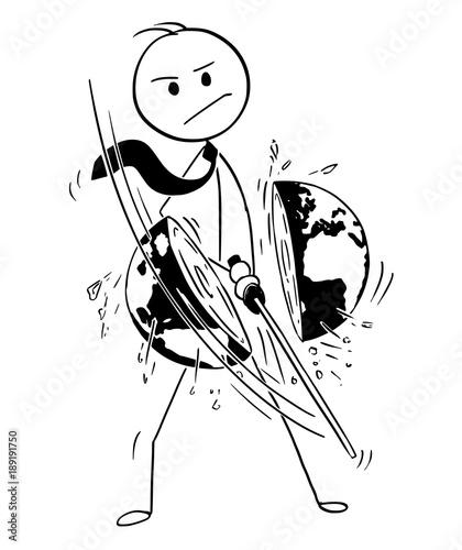 Cartoon Stick Man Drawing Conceptual Illustration Of Samurai