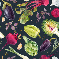Watercolor vegetable vector pattern