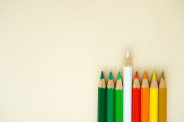 outstanding wood art white pencil color from group of red green yellow concept background