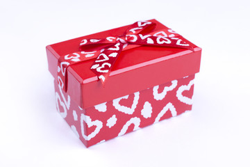 Red box with painted hearts