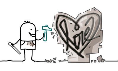 Cartoon Man Sculpting a Stone Heart