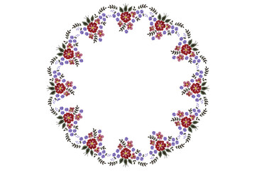 Round pattern for napkin embroidery with bouquet of red and purple flowers and leaves on white background