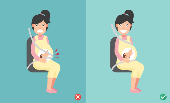 wrong and right ways wear seatbelt correctly when pregnant, illustration.