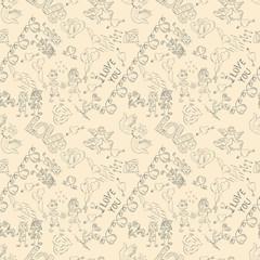 seamless sketch pattern festive symbols design elements Valentines day brown background