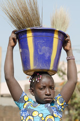 Human Rights - Child Labour Concept Little African Girl Sad Outdoors