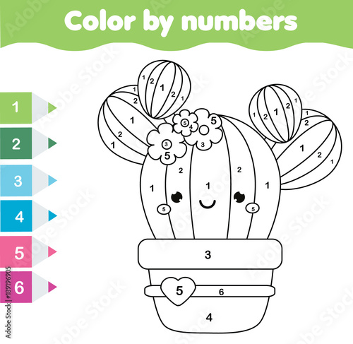 quot Children educational game Coloring page with cute cactus