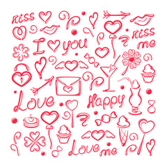 Collection of love romantic icons. Valentines day elements