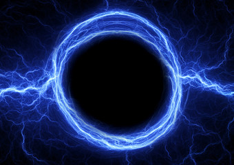 Blue lightning ball, abstract electrical plasma background