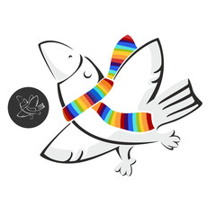 Illustrated vector image of a white crow with a color scarf