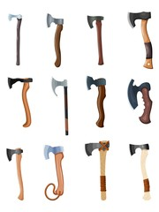 Color image of a set of axes on a white background. Vector illustration of retro ax to work and fight in the style of Cartoon