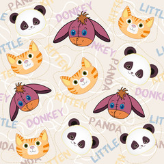 Little animals seamless pattern for baby. Funny cute animals face pattern and pink background