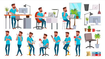 Business Man Character Vector. Working People Set. Office, Creative Studio. Bearded. Full Length. Programmer, Designer, Manager. Different Poses, Face Emotions. Cartoon Business Character Illustration