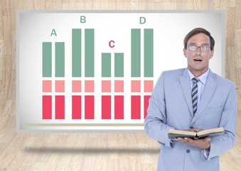 Businessman reading book with colorful chart statistics