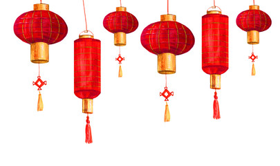 Hand drawn red round and cylindrical Chinese paper lanterns