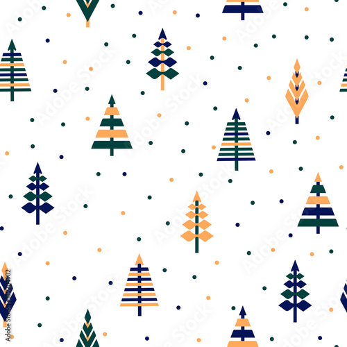 Seamless Pattern With Trees Vector Abstract Forest Cute Ornament Christmas For Childrens