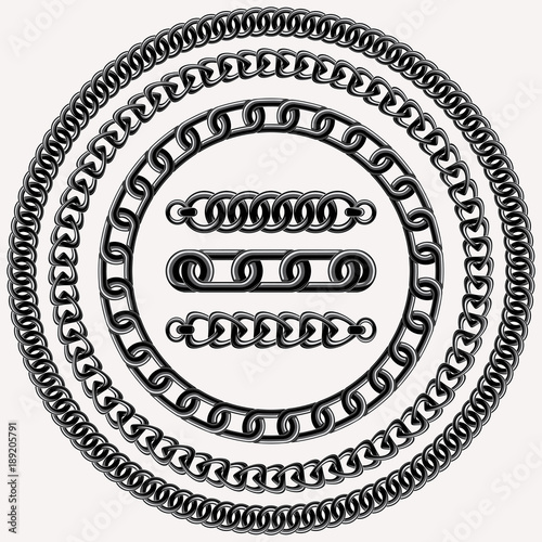 Vector decorative chain design elements and three brushes