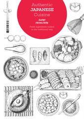 Japanese food menu restaurant. Asian food poster. Vector illustration top view.