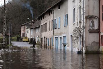 inondation à Saint Léonard de Noblat, Limousin, France