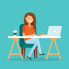 Freelancer at work, working from remote. Young woman sitting at a desk with a laptop and coffee cup. Vector illustration in flat style