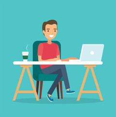 Freelancer at work, working from remote. Young man sitting at a desk with a laptop and coffee cup. Vector illustration in flat style