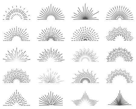 Set of twenty line light rays. Sun bursts for vintage style logos. 20 completely unique illustrated sun rays element illustrations