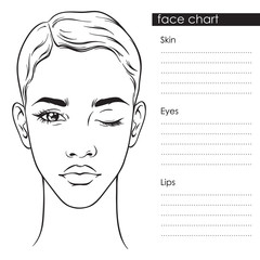 Beautiful woman with short haircut and one eye closed portrait. Face chart Makeup Artist Blank Template vector llustration