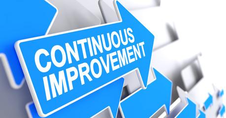 Continuous Improvement - Message on the Blue Pointer. 3D.