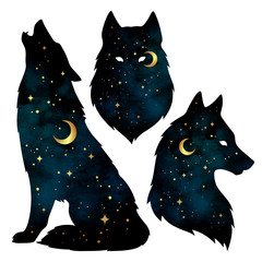 Set of wolf silhouettes with crescent moon and stars isolated. Sticker, print or tattoo design vector illustration. Pagan totem, wiccan familiar spirit art