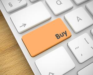 Buy - Inscription on the Orange Keyboard Button. 3D.