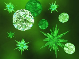 Virus and microbes close-up,