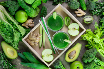 Detox green smoothies concept, view from above arrangement