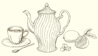 Vintage teapot and cup of tea with lemon.