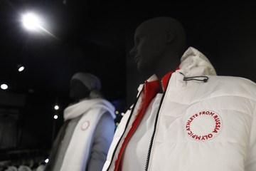 Mannequins dressed in the outfit designed by ZASPORT, the official clothing supplier for national athletes competing in 2018 Winter Olympics, are displayed during the uniforms presentation in Moscow