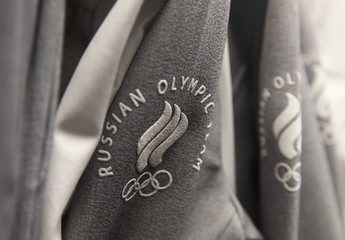 The logo of Russian Olympic team is seen on the uniform designed by ZASPORT, the official clothing supplier for national athletes competing in 2018 Winter Olympics, during its presentation in Moscow