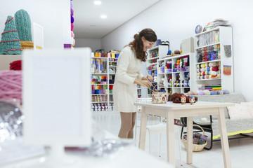 innovative business woman preparing a creative workshop of knitting