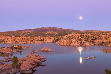 Moonrise Over Scenic Watson Lake Prescott Arizona