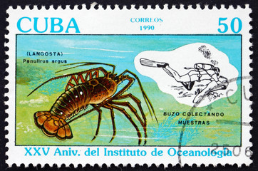 Postage stamp Cuba 1990 Caribbean spiny lobster
