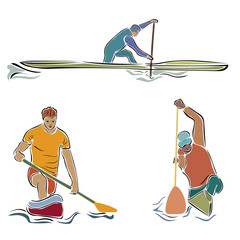 Canoe rowing vector image isolated on white background. Rowing team sign. Emblem of rowing with paddles. Rower silhouette. Set of oarsmen by different boats. Rover competition in minimal linear style