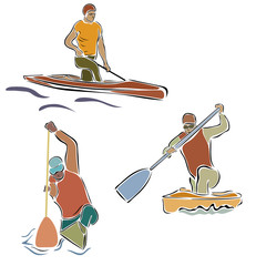 Canoe rowing vector image isolated on white background. Rowing team sign. Emblem of rowing with paddles. Rower silhouette. Set of oarsmen by different boats. Rover competition in minimal linear style.