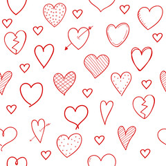 Seamless texture with hand drawn hearts - wrapping paper. Valentine's Day, Woman's Day and Mother's Day. Vector.