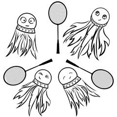 Emotional shuttlecocks vector set. Badminton game. Racket and shuttle on white. Shuttlecock with amusing expressive eyes/ mimicry. Symbol or logo for sports club, stadium, sports shop. Comic picture.