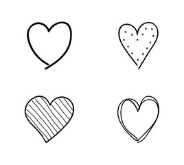 Collection of sketchy hearts. Vector.