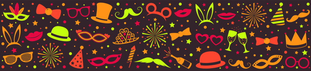 Panoramic banner with multicoloured party icons - carnival, photo booth and birthday party. Vector.